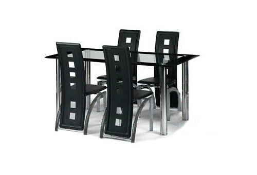 Glass dining table and 4 faux leather chairs, clear and black glass