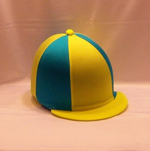 Chapeau Équitation couvrir-fluorescent jaune /& turquoise