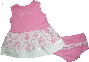 NEW-Calvin-Klein-CK-Pink-Floral-Dress-Top-amp-Diaper-Cover-2pc-Set-Outfit-0-24M