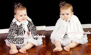 White-Bow-Baby-Girl-Fluff-Reversible-Zebra-Print-Petti-Shawl-Coat-Scarf-6m-6Y