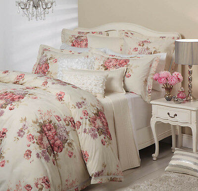 Logan and Mason GARLAND IVORY Roses King Size Bed Doona Duvet Quilt Cover Set