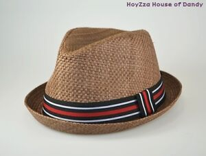 Mens-Summer-Fedora-Brown-Stripe-Band-Cuban-Style-Upturn-Short-Brim-Hat-S-M-L-XL