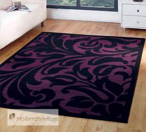 Black Amp Purple Damask Design Budget Home Rug 6 Sizes Ebay