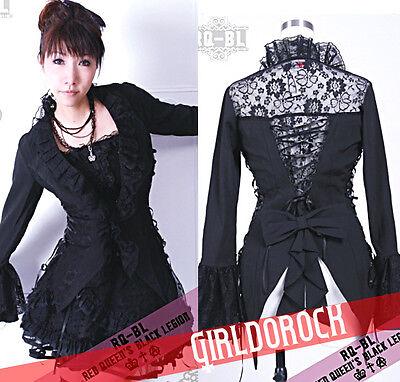 FreeShip  Lolita GOTHIC 21038 BLACK Tuxedo Engraved LACE BLOUSE S-XL