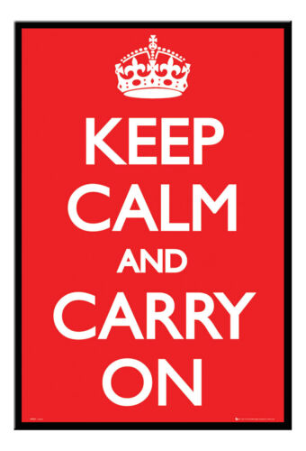 Keep Calm And Carry On Poster Black Framed Ready To Hang Frame Free P/&P