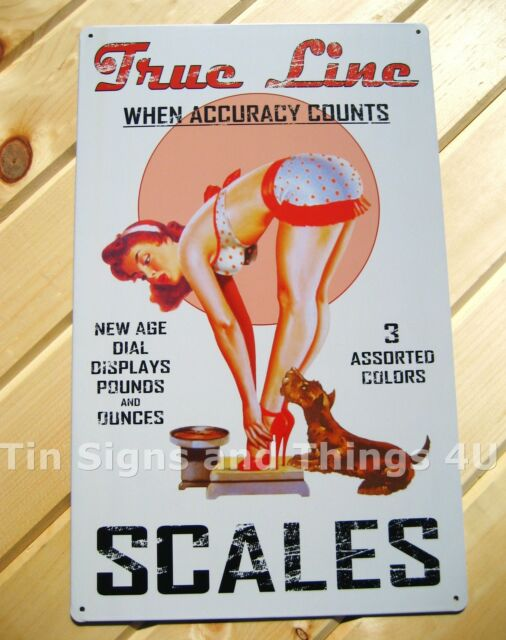 True Line Scales TIN SIGN vintage ad pinup metal garage poster wall decor #OHW