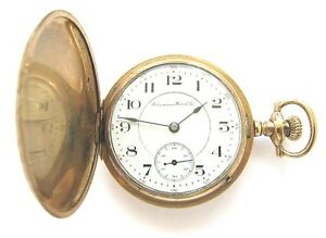 Antique-14K-Gold-HAMPDEN-Wm-McKinley-Pocket-Watch-S16-17J-Hunter-Case-RUN