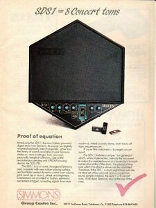 simmons sds 1 electronic drums pinup ad vtg 80s digital sample trigger ebay. Black Bedroom Furniture Sets. Home Design Ideas