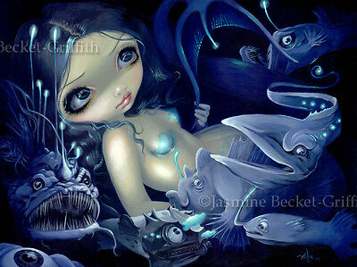 Jasmine Becket-Griffith art BIG print SIGNED In the Abyss mermaid deep sea fish