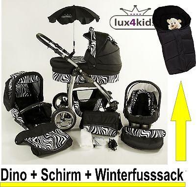 Dino * KOMBI KINDERWAGEN *Winterfusssack + Babyschale + Sonnenschirm