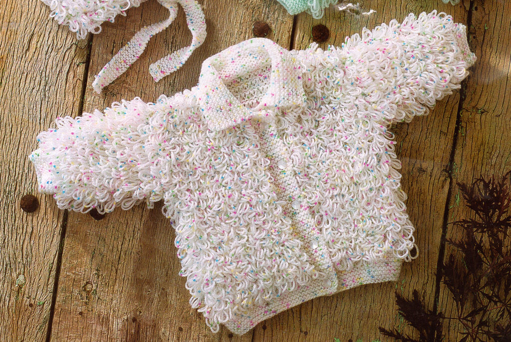 Loopy Hooded Jacket Collared Cardy Baby Bonnet Knitting Pattern