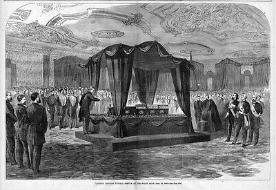 PRESIDENT LINCOLN,S FUNERAL SERVICE AT THE WHITE HOUSE, COFFIN, CASKET, HISTORIC