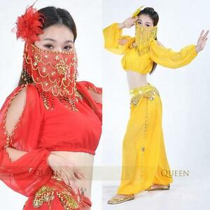 SF04-Belly-Dance-Costume-Long-sleeve-Top-Harem-Pants-with-Gold-Trim-9-Colors