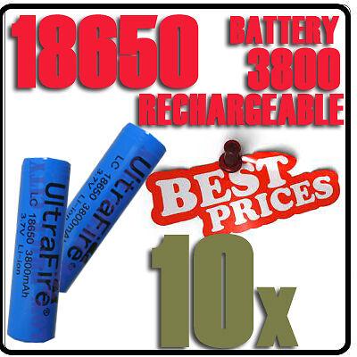 10 x 3800mAh 18650 rechargeable battery UitraFire Li-ion 3.7V JJ0