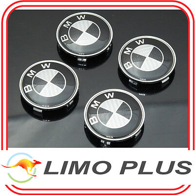 4x 68mm Carbon Fiber Wheel Center Cap Covers for BMW 325 330 530i Z4 X3 t107