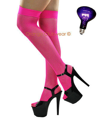 Sexy Neon Hot Pink Fishnet Stockings Thigh High Erotic Lingerie Womens Hosiery