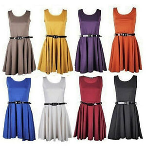WOMENS-SLEEVLESS-TAILORED-BELTED-SKATER-DRESS-LADIES-PARTY-MINI-DRESS-8-14