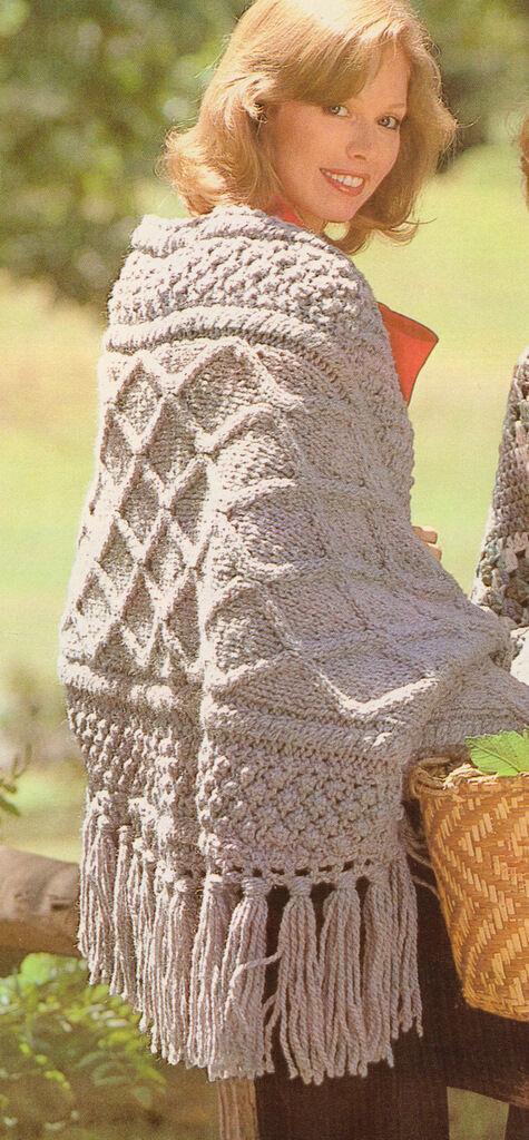 Style Knitting Patterns : Aran Style Knitting Pattern for an Irish Shawl in Chunky Wool- One Size eBay
