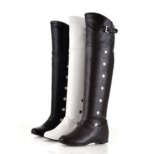 Fashion-Women-039-s-Wedge-Heel-PU-Leather-Knee-High-Boots-Shoes-US-Size-4-14-5-b206
