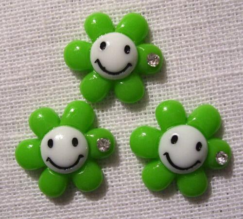 LOT de 3 EMBELLISSEMENTS STRASS en résine FLEUR SMILEY au choix R01 20 mm