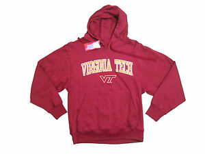 VIRGINIA-TECH-HOKIES-ADULT-MAROON-EMBROIDERED-HOODED-SWEATSHIRT-NEW