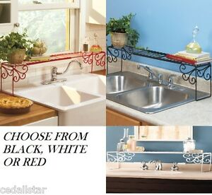 NEW-Red-Black-White-Expandable-Over-the-Sink-Shelf-Rack-Storage-Kitchen-Decor