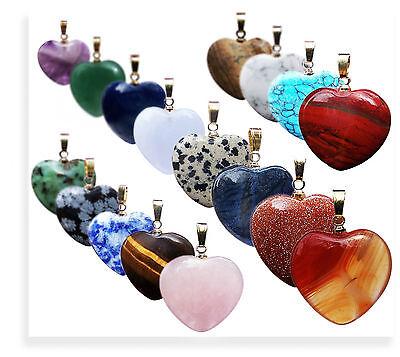 Pendant Gemstone Heart Rose quartz, Amethyst, Tiger eye, Unique, Jade Andv.m
