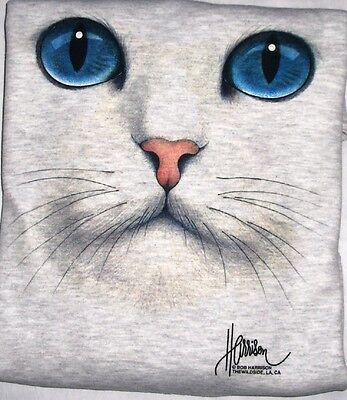 """Cat Face - Blue Eyes"" - Gildan (Ash) Crew Neck Sweatshirt"