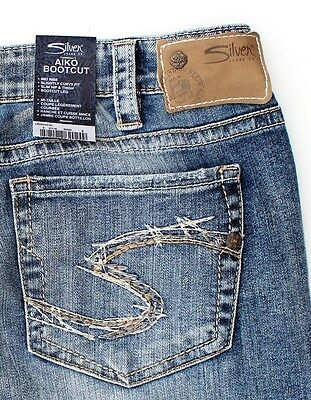 "SILVER AIKO BOOTCUT JEANS 31/33 MID RISE SLIGHTLY CURVY FIT 35"" X 33"" SLIM HIP"