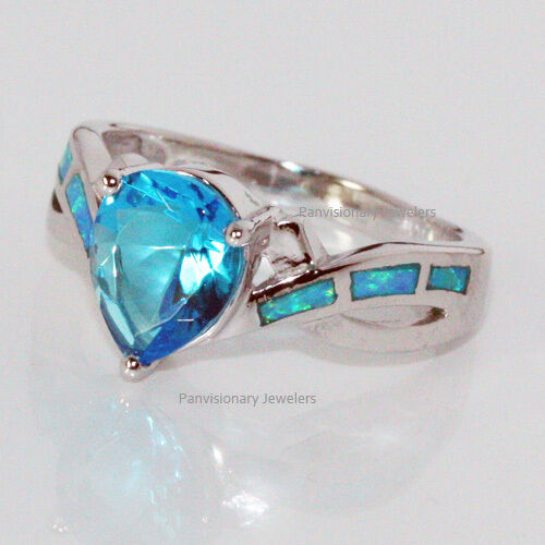 Swiss Blue & Lab Opal Ring Silver 8 x10mm Pear CZ 925 Sterling Size 8.5 Clearanc