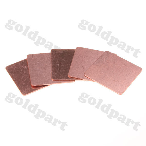 50pcs Laptop GPU CPU Heatsink Copper Shim 20mmx20mmx0.3mm