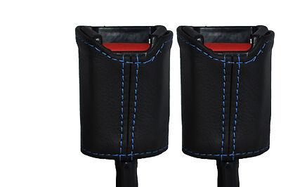blue stitch FITS MINI CLASSIC ROVER COPPER AUSTIN 2X SEAT BELT  LEATHER COVERS