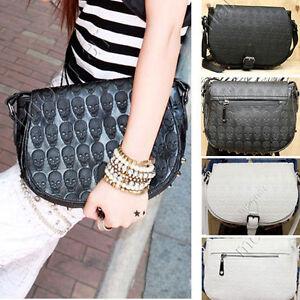 Women-039-s-PU-Leather-Rivet-Skull-Messenger-Shoulder-Bag-Handbags-Purses-2Colors