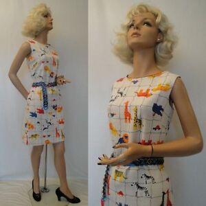FUN-Vintage-60s-Mr-Simon-Novelty-CIRCUS-ZOO-Print-Day-Summer-Dress-M