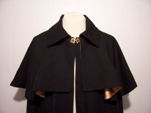 Victorian Mens Suits & Coats    MENS OPERA CLOAK Capelet Victorian Gentlemans Cape Black Red Gold Berry S t XL $199.50 AT vintagedancer.com