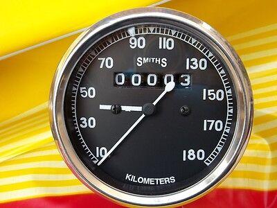 Motorcycle Speedometer 0-180 KPH Black Replica Smith - 80mm Dia