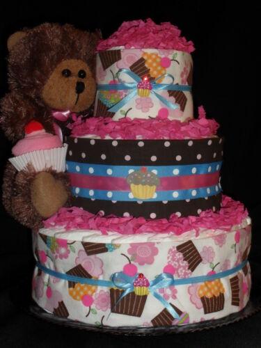 Pink and Brown Cupcake Theme Diapercake