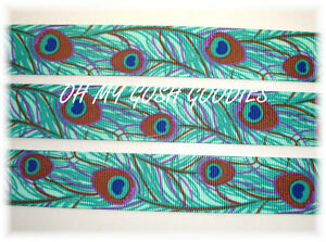 7-8-FUNKY-PEACOCK-TAIL-FEATHERS-GROSGRAIN-RIBBON-TEAL-4-HAIRBOW-BOW