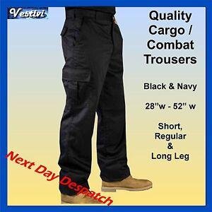 Mens-Cargo-Combat-Work-Trousers-Black-Navy-Blue-29-L-31-L-33-L-FREE-P-P