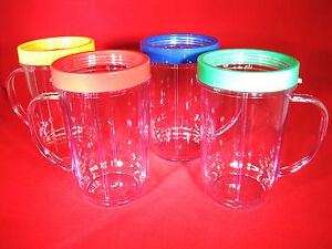 Set-of-4-034-GENUINE-034-MAGIC-BULLET-Party-Mugs-Cups-amp-Colored-Lip-Rings-NEW