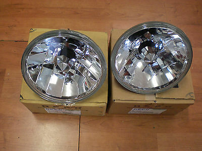 MITSUBISHI PAJERO NA NB NC ND NE APG ROUND H4 PAIR CLEAR CRYSTAL HEAD LIGHTS 7""