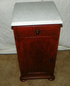 Hand-Painted-Faux-Tiger-Cherry-Finish-Marble-Top-Half-Commode-Nightstand-NS30