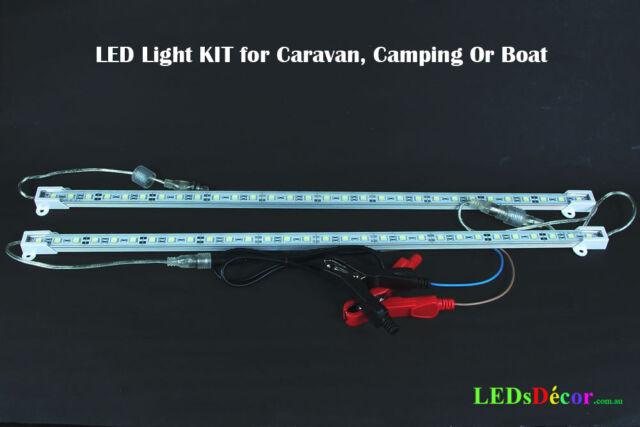 12V 2 x 50 cm LED LIGHT BARS KIT BOAT, CARAVAN, CAMPING YELLOW