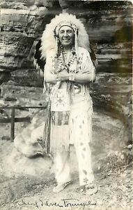 Vintage-RPPC-Chief-Silver-Tongue-Ho-Chunk-Nation-Winnebagos-1950s-Autographed