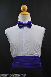 Baby Toddler Boys PURPLE Cummerbund Cumberband + Bow tie Set Tuxedo Suit Sz:S-28