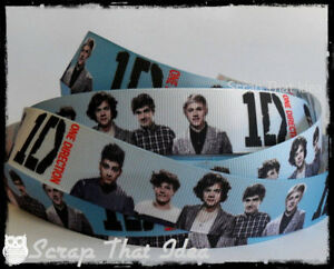 One-Direction-RIBBON-1-034-Grosgrain-Blue-White-Scrapbooking-Bows-Music-1D