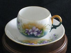 Authentic Antique Hand Painted Bavaria Fine Porcelain Tea Cup & Saucer Germany
