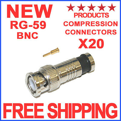 20 BNC COMPRESSION CONNECTOR RG59 CCTV COAX CABLE FITTING ADAPTER COAXIAL MALE