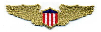 PILOTS WINGS Aviation Aircraft Airplane Metallic Gold Emblem Patch Applique lg.