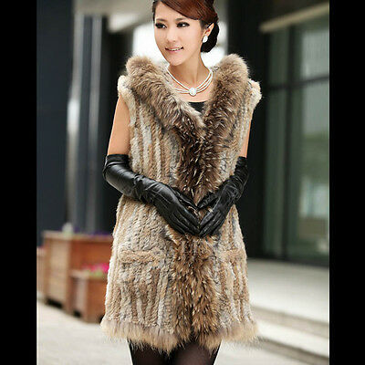 QD5931 Fashion Genuine Rabbit Fur Long Vest/waistcoat with Raccoon collar Hot